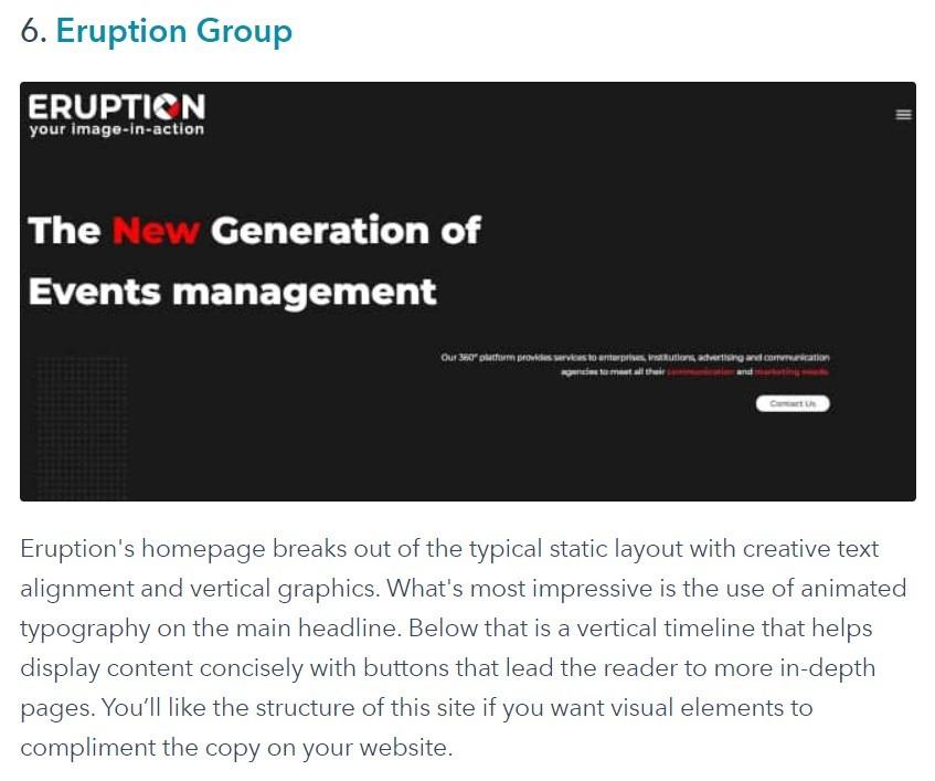 HubSpot praises Eruption website design